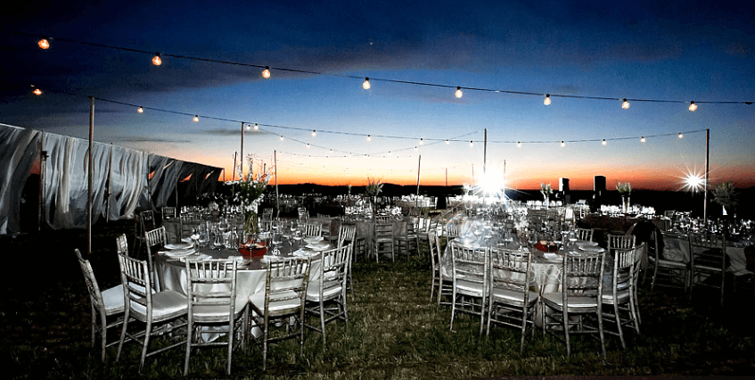 wedding reception by sunset