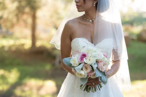 Wedding bouquet, white, pink, peach rose colored bouquet