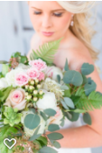 Large wedding bouquet with pink and white roses