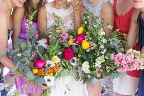 Bride and Bridesmaid matching bouquets, spring colors