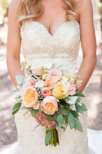 Rose wedding bouquet, peach, white, pink roses